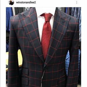 Other - Super 150 cerruti red/black wool suit